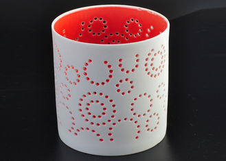 Decorative Red Ceramic Votive Holders , Ceramic Tealight Candle Holders