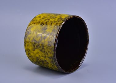 Transmutation Handmade Ceramic Candle Holders Yellow Round Black Inside