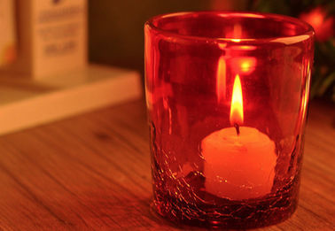 Elegant Red Cracked Small Personalized Glass Candle Holders For Decoration , Glass Tea Candle Holders