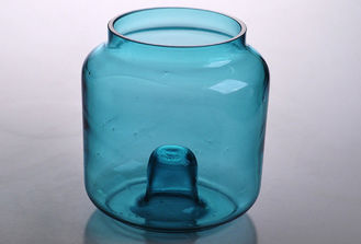 Popular Decorative Glass Cylinder Candle Holders , Color Sprayed Blue Glass Candle Container