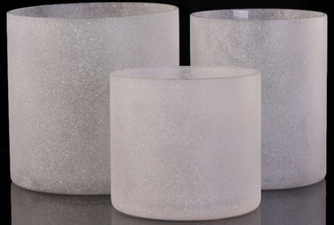 Vertical Sandblasted Glass Cylinder Candle Holders Straight Walled Glass Candle Cups
