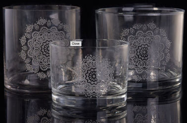 Laser Engraved Etching Logo Decorative Glass Cylinder Candle Holders , Glass Cylinder Candle Holder
