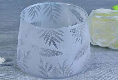 Fashion Bamboo Leaves Laser Frosted Votive Personalized Glass Candle Holders For Home Decor