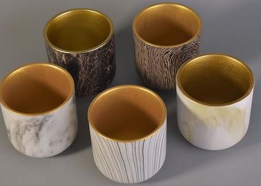 Bark Water Transfer Printing Handmade Ceramic Candle Holders with Golden Plating Inside