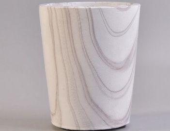 White Concrete Candle Holders Vessels For Home Decor Marble Effect AQL Standard