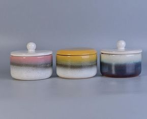 Small Home Decoration Porcelain Candle Jars / Ceramic Candle Holder With Lids