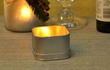 Decoration Tin Votive Candle Holders , Metal Square Candle Jars With Lids