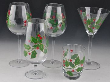 Colorful Hand Painted Martini Glasses , Decorated Wine Glasses For Birthday